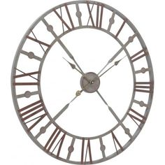 Skeleton Style Wall Clock in Antique Grey