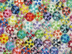 Glass Cabochons 66 Mod Polka Dot Handpainted by CalicoSkiesMosaics, $8.50