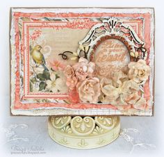 """Listen to Your Heart"" Birthday Card ~ DT for Helmar: Leaky Shed Studio Chipboard - French Oval Frame, Victorian Oval Frame, Prima Flowers, Wild Orchid Crafts Flowers, Seam Binding Double Bow, Distrezz-it-All, BoBunny The Avenues, Bo Bunny, Distrezz-it-All, Helmar Adhesive"