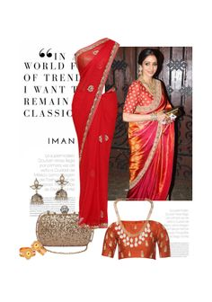 'Sridevi' by me on Limeroad featuring Red Sarees, Gold Necklaces with Non Precious Gold Earrings
