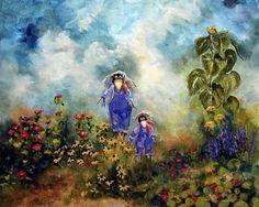 Scarecrow Garden Landscape Garden Painting by Marina Petro, painting by artist Marina Petro