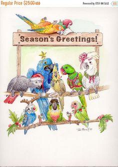 SALE BLANK 10pks Merry Christmas or Season's Greetings 2015 card with parrot artwork