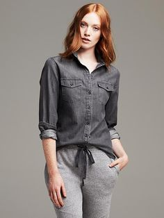 $44, Soft Wash Gray Denim Shirt by Banana Republic. Sold by Banana Republic. Click for more info: http://lookastic.com/women/shop_items/97169/redirect