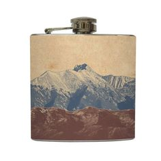 Mountain Landscape Whiskey Flask Traveler Camping Hiking Gift Stainless Steel 6 oz Liquor Hip Flask LC-1041. $20.00, via Etsy.