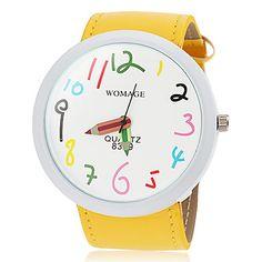 Women's Cute Big Dial Pencil Pointer Design PU Band Quartz Wrist Watch (Assorted Colors) – DKK kr. 42
