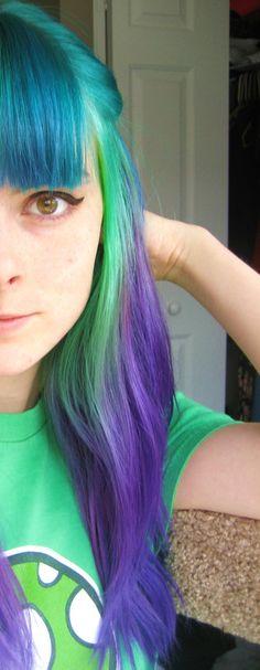Blue purple hair with bangs