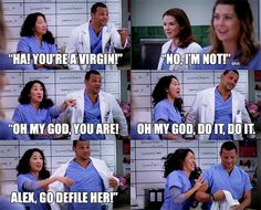 "On Grey's Anatomy, April gets laughed at for being assumed to be a ""virgin,"" after the other characters share their experiences of losing their virginity. Alex is then told to go ""defile her."" I understand that this is supposed to be a funny moment in the show, but ""virgin-shaming"" and ""slut-shaming"" shouldn't be happening to anyone."
