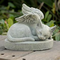 Large Sleeping Angel Cat Statue and Sculpture