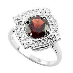 Natural 8 mm Dark Orange Red Garnet & White Cz 925 Sterling Silver Fashion Ring For Beautiful Women by FinesilverArt on Etsy