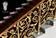 Stairway Railing in GOLD Custom Handrails and Stair Railings Design Ideas K 5082 by Kny Design Austria www.kny-design.com Banisters, Railings, Stair Railing Design, Lighting Solutions, Glass Design, Stairways, Lighting Design, Austria, Metal