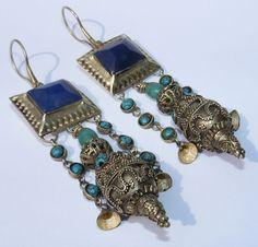 einzigartige Orientalische tibetische design Afghan Silber Ohrringe earring 179