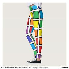 Black Outlined Rainbow Squares Leggings #leggings #yogapants #workout #fitness #spandex #fashion