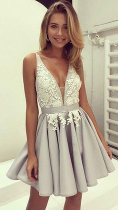 Cute Gray V Neck Lace Applique Short Prom Dress, Short Mini Prom Dress, Short Party Dresses, Short H on Luulla