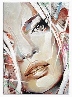 """SOLD Acrylic, Spray Paint and Correction Fluid on 14""""x10"""" Canvas."""