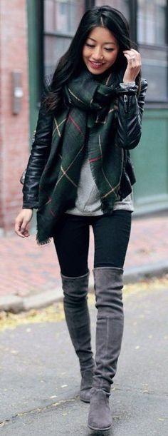 #fall #trending #street #outfits | Blanket Scarf + Dark Neutrals