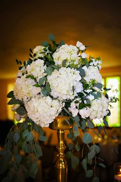 Tall Wedding Centerpieces in Gold Vases with Cascading White Hydrangeas and Greenery | Flowers by St. Petersburg Florida Wedding Florist Iza's Flowers | Wedding Planner Special Moments