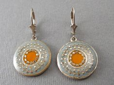 Orange with Green Spots MOP Shell Gemstone Beads Gold Plated Dangle Earrings