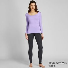 Heattech longsleeve shirt by Uniqlo Winter Wardrobe Essentials, Quality T Shirts, Basic Tops, Sleeve Designs, Bra Tops, Uniqlo, Neck T Shirt, Long Sleeve Shirts, Scoop Neck