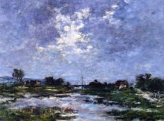 Moonlight on the Marshes, The Toques : Eugene Boudin : Impressionism : cloudscape - Oil Painting Reproductions Eugene Boudin, Moonlight Painting, Monet Water Lilies, Honfleur, Edgar Degas, Impressionist Art, Painting Gallery, Oil Painting Reproductions, Edouard Manet