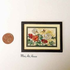 Miniature painting flowers and butterfly от Miniarthouse на Etsy