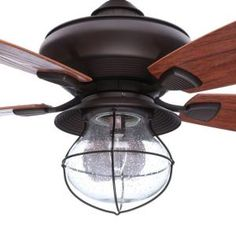 Hampton Bay Sailwind II 52 in. Indoor/Outdoor Oil-Rubbed Bronze Ceiling Fan with Wall Control and Light Kit - The Home Depot Family Room Decorating, Farmhouse Style Decorating, Decorating Blogs, Hampton Bay Ceiling Fan, Decorative Ceiling Fans, Living Room Ceiling Fan, Ceiling Fan Makeover, Bronze Ceiling Fan, Japanese Home Decor