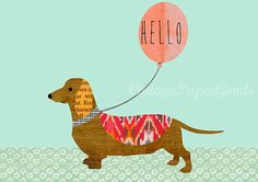 Berta Dachshund print with Ikat saying Hello by GreenNest on Etsy