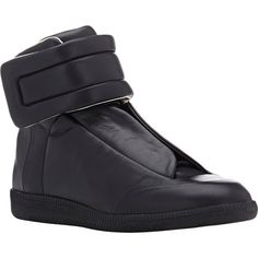 Maison Margiela Future Ankle-Strap Sneakers ($895) ❤ liked on Polyvore featuring men's fashion, men's shoes, men's sneakers, mens high top sneakers, mens leather high top shoes, mens lace up shoes, mens leather sneakers and mens black leather high top sneakers