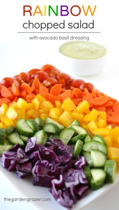 The Garden Grazer: Rainbow Chopped Salad with Avocado Basil Dressing