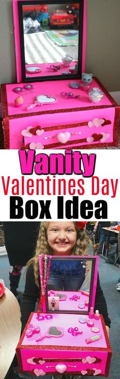 Vanity Valentines Day Box Idea For Kids. This adorable valentine box is perfect for school valentines day parties! It won my daughter first place in the valentines day boxes contest.  via @mellisaswigart