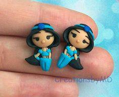 alladin jasmine stud earrings polymer clay fimo by CreationsbyMD