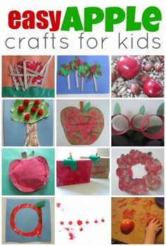 """Apple Tree Craft, Second row on the far left. Cut outs of tree trunk (brown), cut out tree tops (green), use cotton balls to be """"apples"""" or stamp markers. Glue all onto construction paper"""