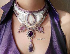 Купить Deep purple (вечерний) - фиолетовый, аметист, натролит, адуляр, драгоценные камни, art-lati