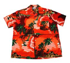 Vintage 90s Red/Orange Polyester Palm Tree Print Hawaiian Shirt Mens Size XL $30.00