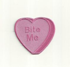 Bite Me Anti-Conversation Heart Patch. Any Color by PatchNation
