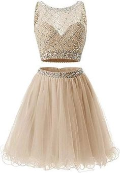 Buy Short Homecoming Dresses Juniors Two Piece Prom Dress Short A line Tulle Beaded Sequins Party Dresses Children online - Newtopgoods Women's Dresses, Prom Dresses Two Piece, Two Piece Dress, Junior Dresses, Short Dresses, Party Dresses, Gold Dama Dresses, Girls Party Dress, Mermaid Dresses