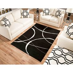 Terra Luna Woven Area Rug, Cream and Black. Love this living room!