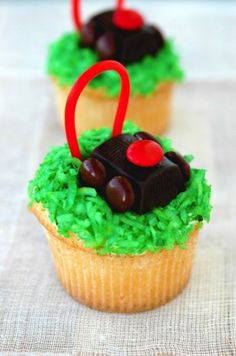 Lawn mower cupcakes!! Using a Hershey's nugget as the motor... clever!!