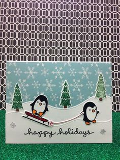 Happy Holidays card with Lawn Fawn Toboggan together and stitched hills.
