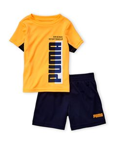 Puma (Infant Boys) Two-Piece Vertical Logo Tee & Shorts Set Boys Summer Outfits, Summer Boy, Kids Outfits, Short Niña, Mens Designer Shirts, Baby Suit, Infant Boys, Flip Flop Shoes, Baby & Toddler Clothing
