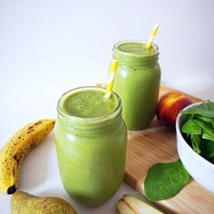 Peachy Pear Green Smoothie If youre craving something sweet creamy and healthy at the same time then grab your blender and whip up this green smoothie! Its chock full of vitamins and minerals plus its filling and delicious. Peaches are rich in fibre and minerals potassiummagnesium and vitamins A and C. They help lower inflammation in the body and