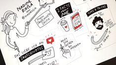 Struktur in Sketchnotes bringen! Drei Beispiele – Teil 2 Sketch Notes, Tricks, Bullet Journal, Sketches, Cards, Doodles, School, Drawings, Map