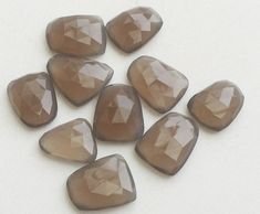 5 Pcs Grey Chalcedony Rose Cut Cabochons Flat by gemsforjewels