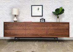 Dumont Dresser Solid Walnut Metal Base by STORnewyork on Etsy Low Dresser, Walnut Dresser, Double Dresser, Dresser Drawers, Dresser In Living Room, Boho Living Room, Metal Wall Decor, Handmade Furniture, Walnut Wood