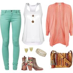 Some tribal accents to really play up a basic tank top & jeans outfit.  #fashionset #comfy #casualoutfit #casual #casualchic