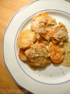 Veganer Süßkartoffelauflauf vegan sweet potatoe casserole http://kuechenmamsell.blogspot.de/2013/11/veganer-sukartoffelauflauf.html
