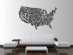 United States Word Map on etsy, $59.99