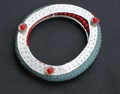 Yuki Sasakura - bangle- Pond Textiles Coral/ sterling silver, coral beads, moonstone, thread and textiles