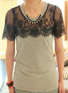 Grey Short Sleeve Floral Lace Embellished Cotton T-Shirt