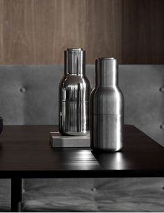 MENU | Bottle Grinders in brushed stainless steel and mirror polished stainless steel  by Norm Architects,