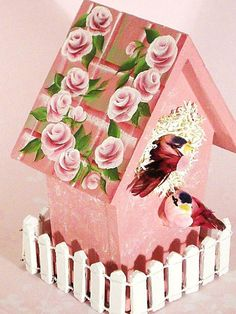 Hand Painted Birdhouse with White Picket Fence and 2 Silk Birds